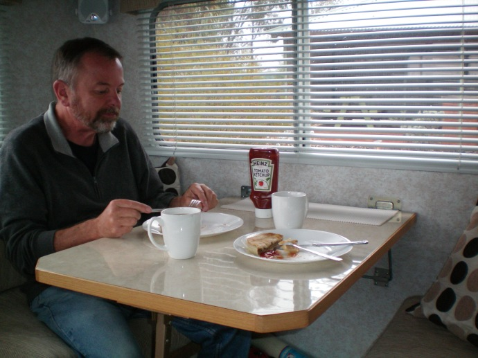 Lunch in the van out of the rai