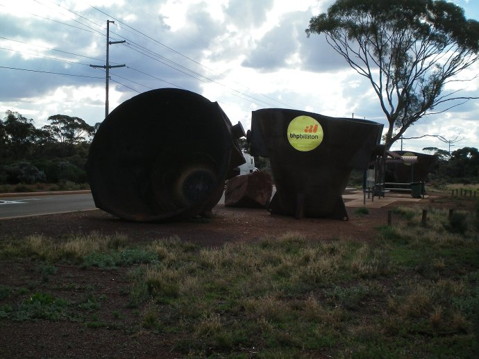 Mining Buckets at Entrance to Kalgoorlie