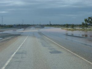 Water on the road coming into Port Hedland