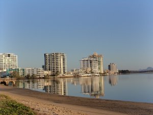 Reflections of Maroochydore during the Sunshine Coast Marathon