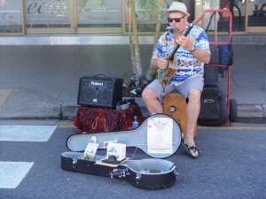 Busker at the Cotton Tree Market