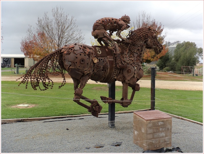 "Racehorse ""Toolbox"" Sculpture at Morundah"