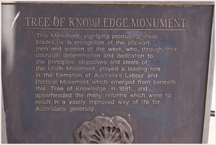 Plaque at the Tree of Knowledge at Barcaldine