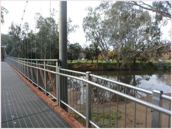 View across the bridge to the caravan park