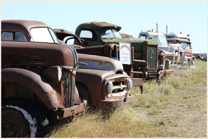 Yard Full of Trucks Awaiting Restoration at the Truck Museum