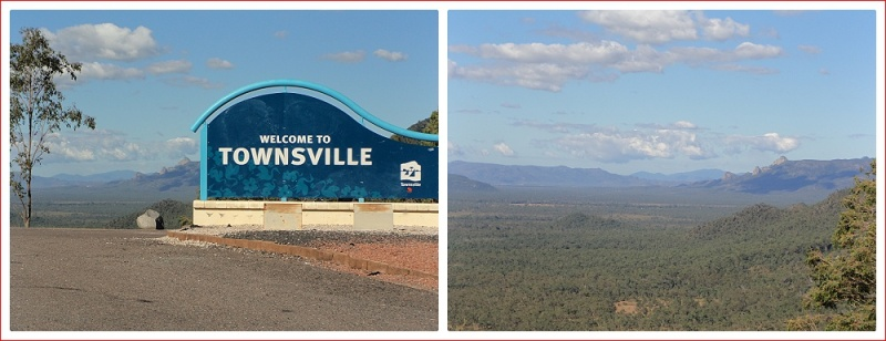 Views from Herveys Range Lookout towards Townsville