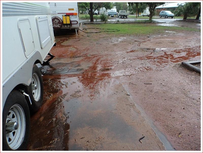 Muddy Concrete Slab Under the Caravan