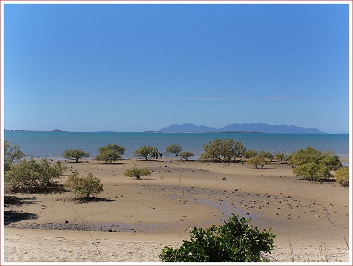 View out to the Whitsunday Islands from the beach at Bowen