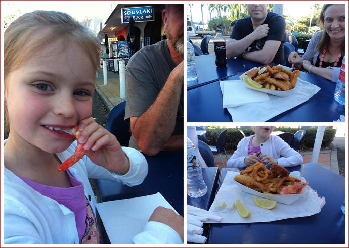 Enjoying tea at Harold's Seafood.  Alex liked the prawns.
