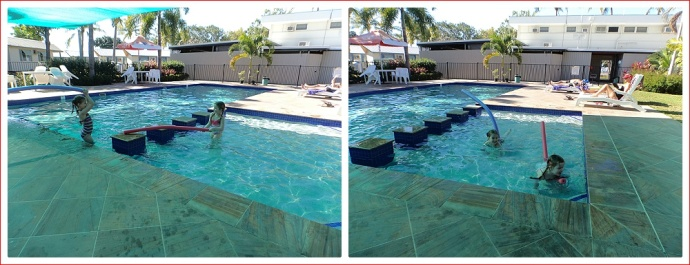 Alex and Emily in the swimming pool at Rowes Bay Caravan Park