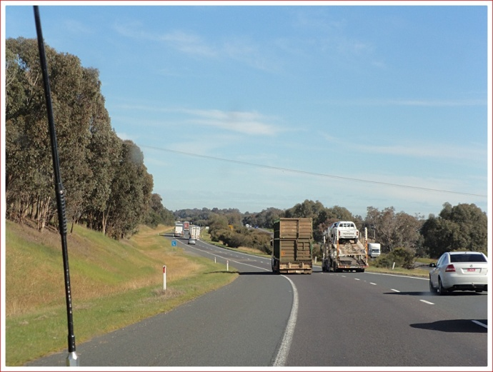 Large trucks on the Hume Freeway