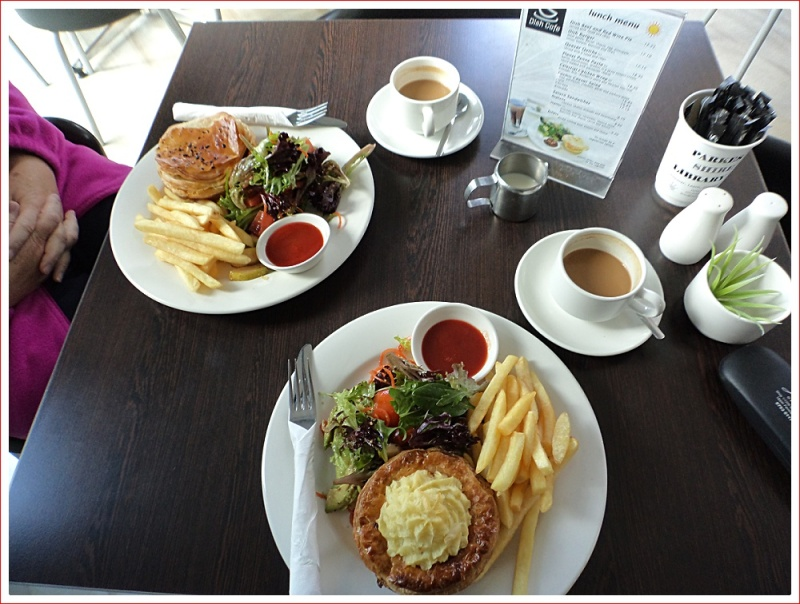 Pies and Chips for lunch at the Dish Cafe
