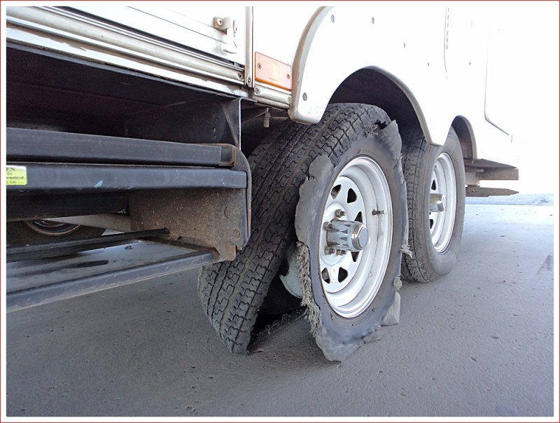 Shredded Tyre on our 5th wheeler