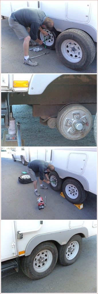 Changing the tyre on the 5th wheeler