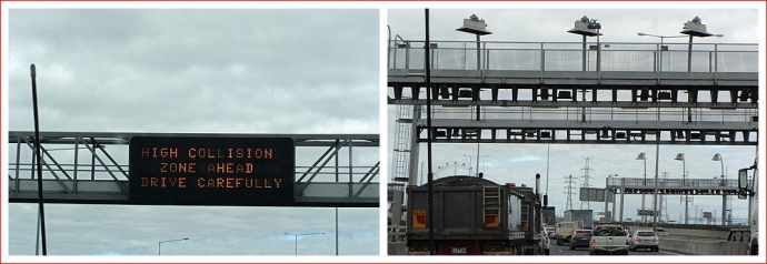 Useless information sign, and toll cameras.