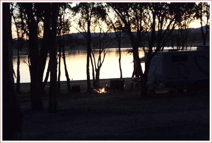 Campfires at Sundown at Lake Leslie