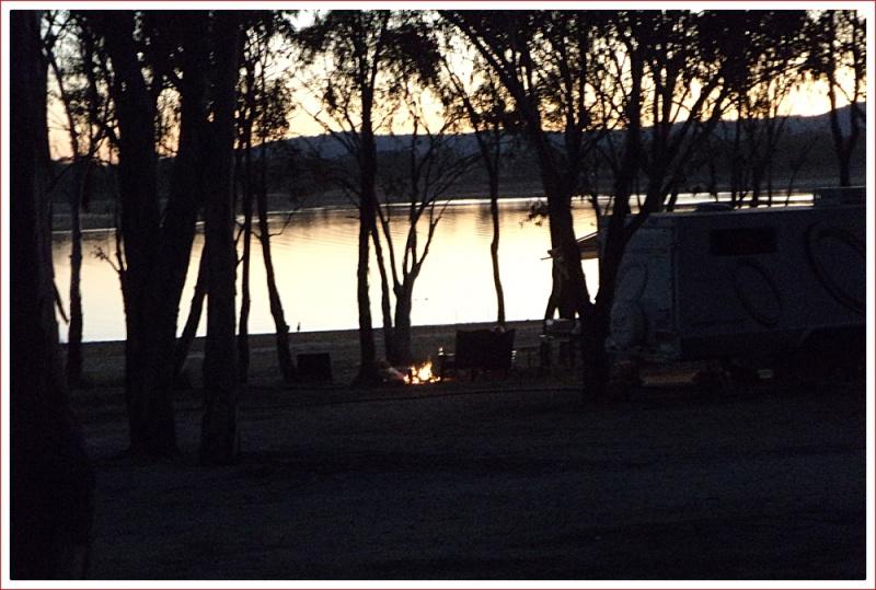 Campfires at Sundown at Lake Leslie