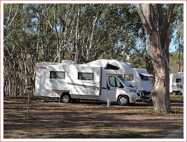 Our home among the gum trees tonight.