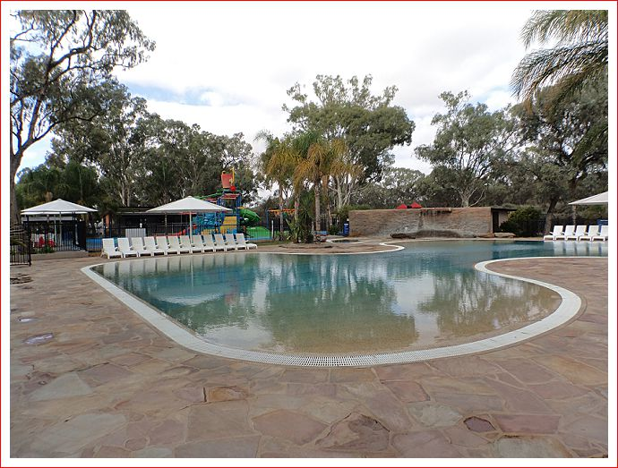 Swimming pool and water fun park.