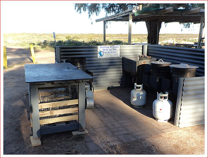 Crab kitchen at caravan park.