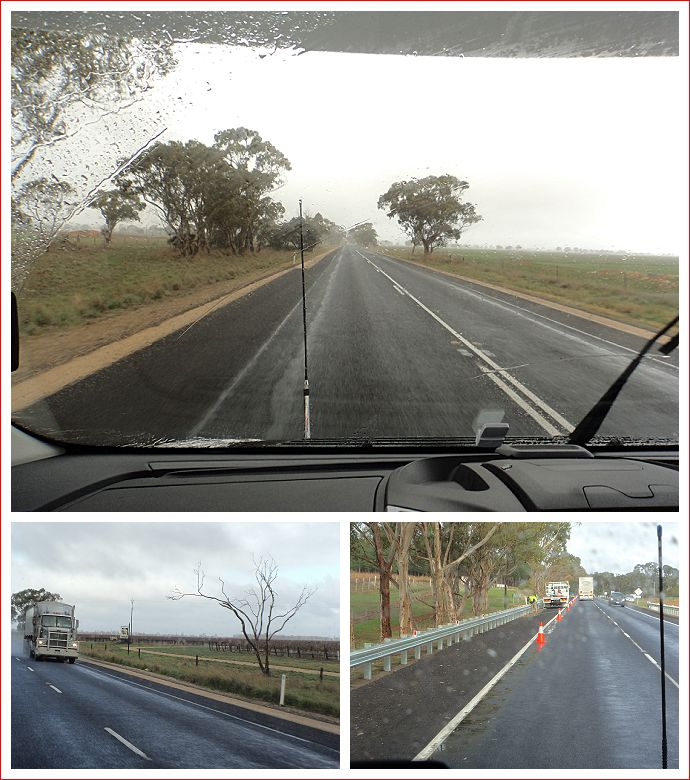 Rain, trucks and roadworks - what a great day!