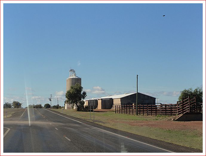 Grain silos and stock yards at Wallumbilla