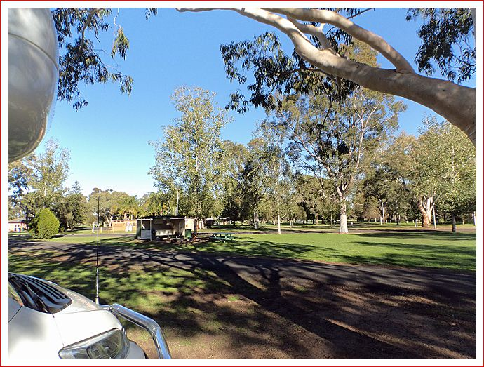 Early morning at Gilgandra Caravan Park - lots of space
