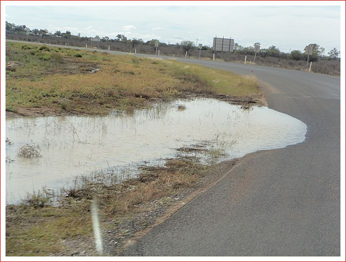 Water on the road leaving Hebel.