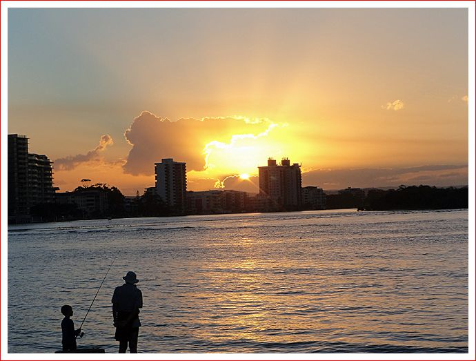 Plenty of beautiful sunsets at Maroochydore River, Cotton Tree