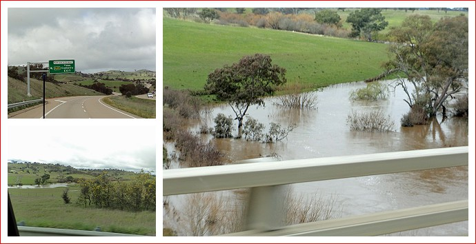 Views of Yass River under the Barton Highway going into Canberra