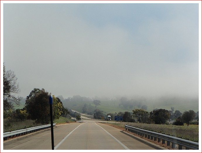 Surprised to see so much fog heading towards Yass