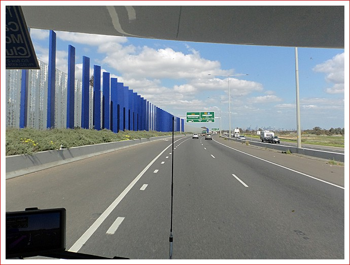 Striking blue poles along the Hume
